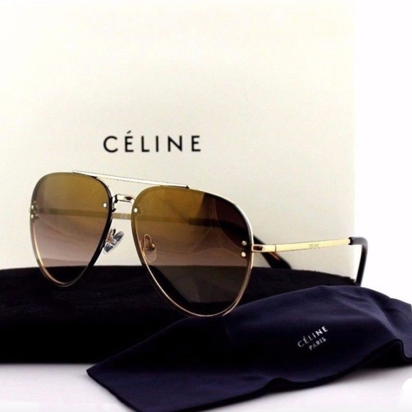 5b9d801c70 Celine Accessories - Celine Mirror Small Gold Brown Aviator Sunglasses